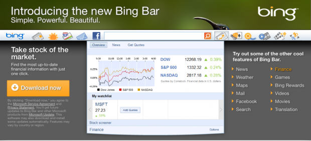 disinstallare Bing Bar