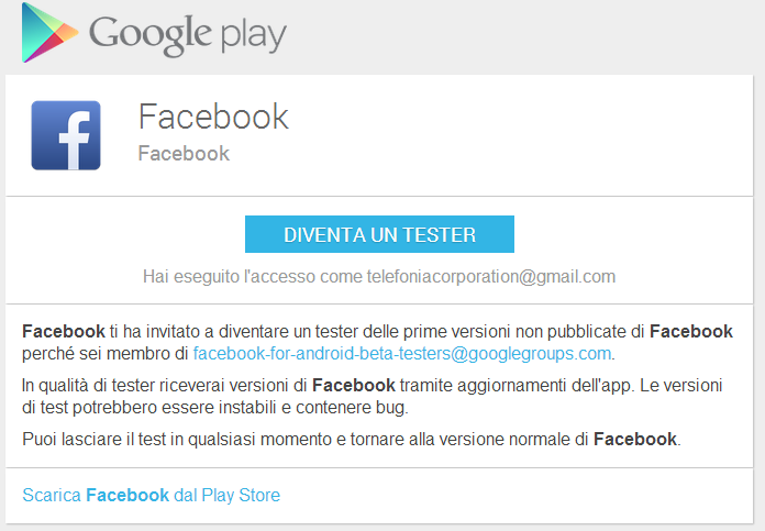 Facebook per Android Beta Tester: