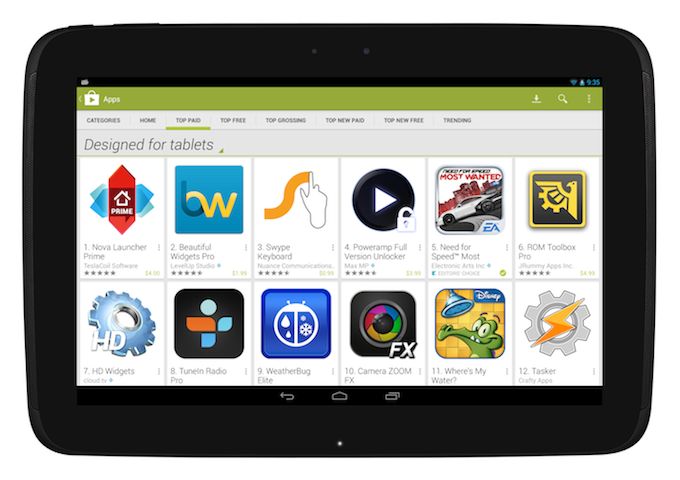 "Google Play Store integra la sezione ""Designed for tablets"""