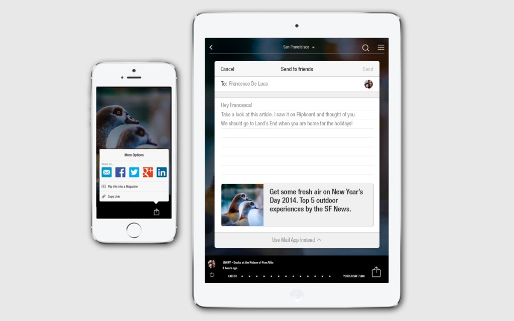 Flipboard send to friend iOS