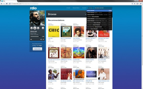 Rdio streaming gratis Rdio consente lo streaming illimitato di musica sul Web