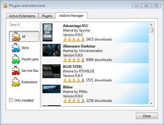 VLC 2.2 add-on manager