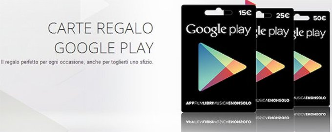 Le carte regalo di Google Play ora sono disponibili anche in Italia