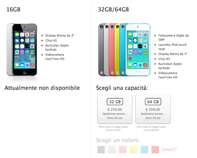 Apple, un nuovo iPod Touch da 16 GB