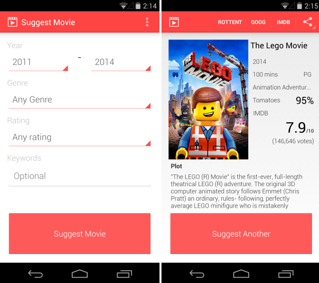 Suggest Movie Android Suggest Movie consente di cercare i film secondo anno, genere e votazione su Android