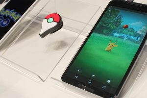 "A sample display of the upcoming ""Pokemon Go"" mobile game to be released in 2016 for smartphones and accompanying accessories are shown to the press by Pokemon Co. in Tokyo on Sept. 10, 2015. Pokemon, short for Pocket Monster, is a hit comic series on which the video game series is based. (Kyodo)==Kyodo"