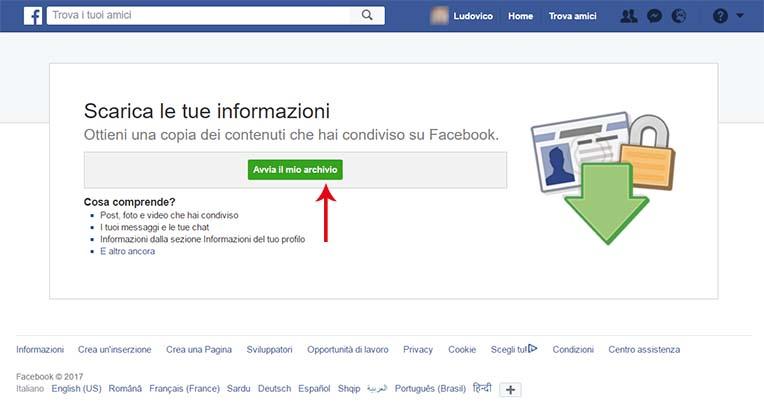 Backup profilo Facebook