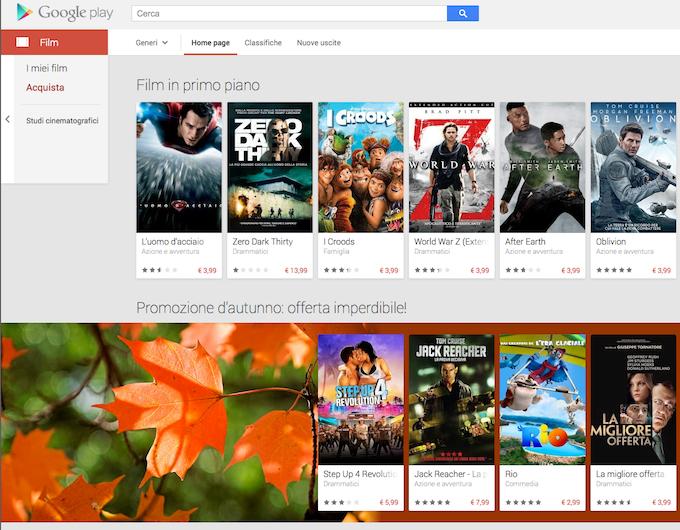 Google Play Movies è ora disponibile in Italia