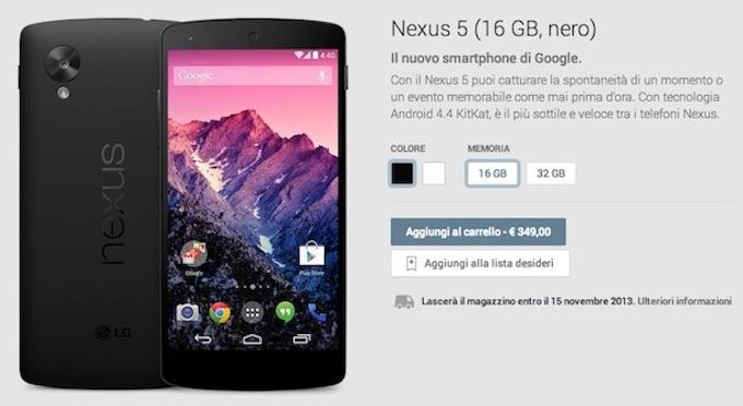 Nexus 5 presentato ufficialmente: il prezzo e le caratteristiche