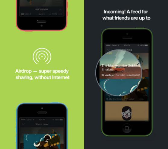 Vimeo iOS AirDrop feed app