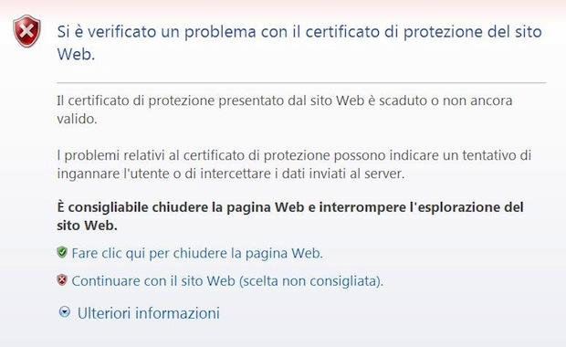 Certificato protezione sito web