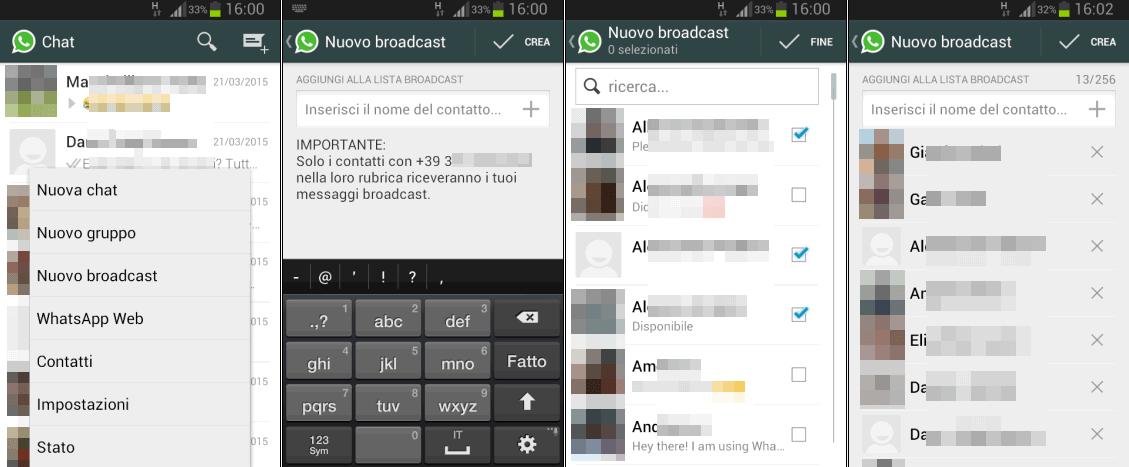 Come mandare messaggi Whatsapp a più contatti con Android