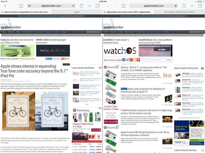 Come affiancare due schede in Safari su iOS 10