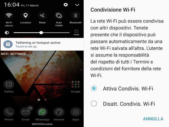 Come condividere la connessione WiFi con il Galaxy S7