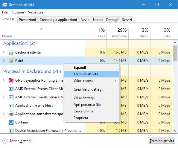 Come aprire gestione attività (Task Manager) su Windows