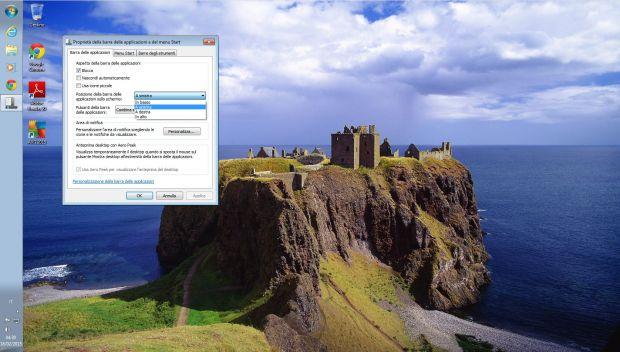 Come spostare la barra delle applicazioni su Windows 8